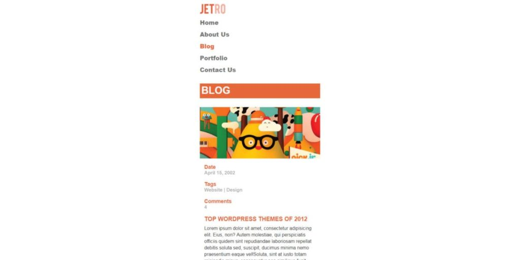 Screen Strony z PSD - Jetro - Mobile